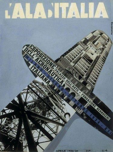 Munari + R. (Bruno Munari e RiccardoRicas), L'Ala d'Italia. Esposizione dell'Aeronautica Italiana, 1934, tempera e collage fotografico, 28,5 x 21,5 cm. Roma, Collezione Caproni
