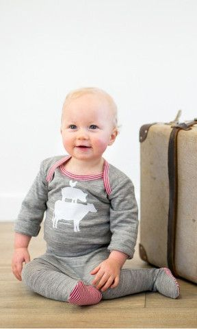 Suprino Farm Yard L/S Onesie Grey/Marl 3-6mth http://gilmourspharmacy.co.nz/collections/gifts-baby/suprino-bambino