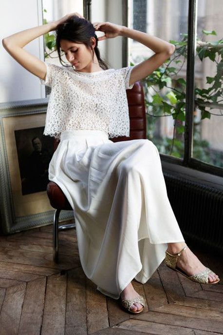 loose white dress | two piece dress | lace | long skirt | sandals | casual brunette updo