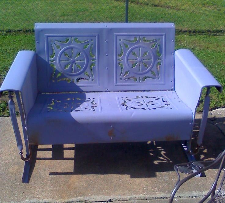 Lavender Loveseat Metal Vintage Porch And Patio Glider...www