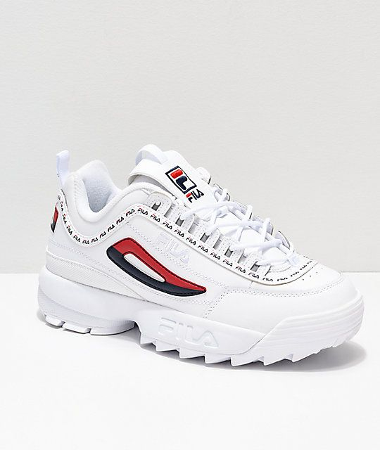 3249feb8b26 Disruptor II Logo Taping White Shoes from FILA in 2019