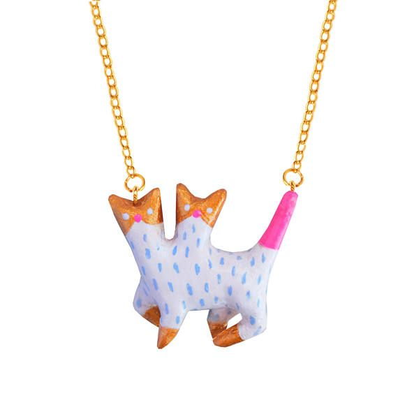 Double  head CAT NECKLACE  hand made ceramic jewelLery