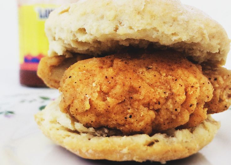 Crispy southern-fried vegan chicken strips served on a fresh baked biscuit.