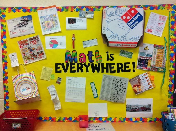 everyday uses of Math. This would be a GREAT bulletin board for the beginning of the year. Let the kids bring something in that deals with using math. @lesleykane  we have to do this!!
