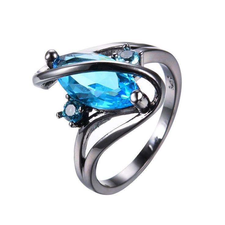 Marquise Cut Blue Aquamarine S Shape Wedding Ring 10KT Black Gold Filled Sz 6-10 #Handmade #Journey