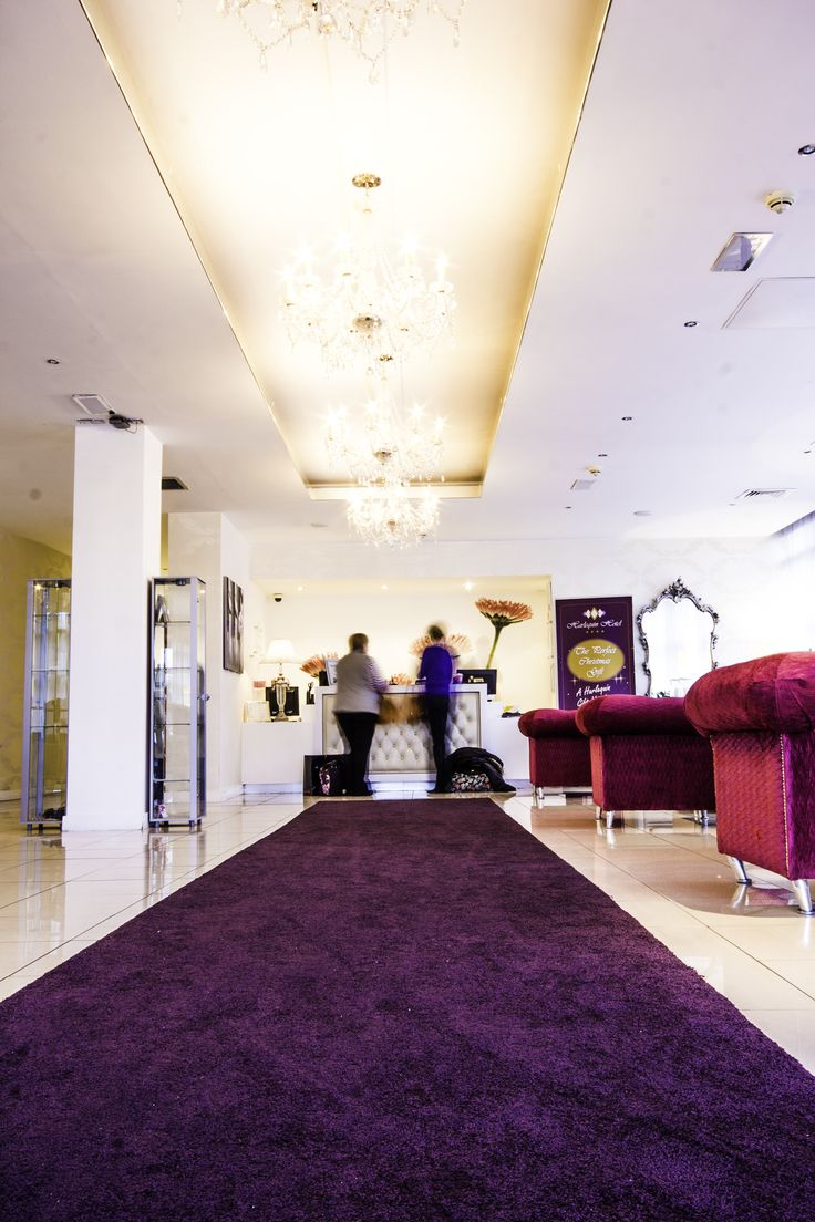 The lovely purple Carpet at Harlequin Hotel