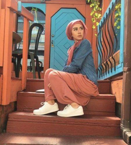 rusty maxi skirt denim shirt hijab casual- Fashionista hijab trends http://www.justtrendygirls.com/fashionista-hijab-trends/