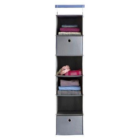 6-Shelf Hanging Closet Organizer Gray - Room Essentials™ : Target