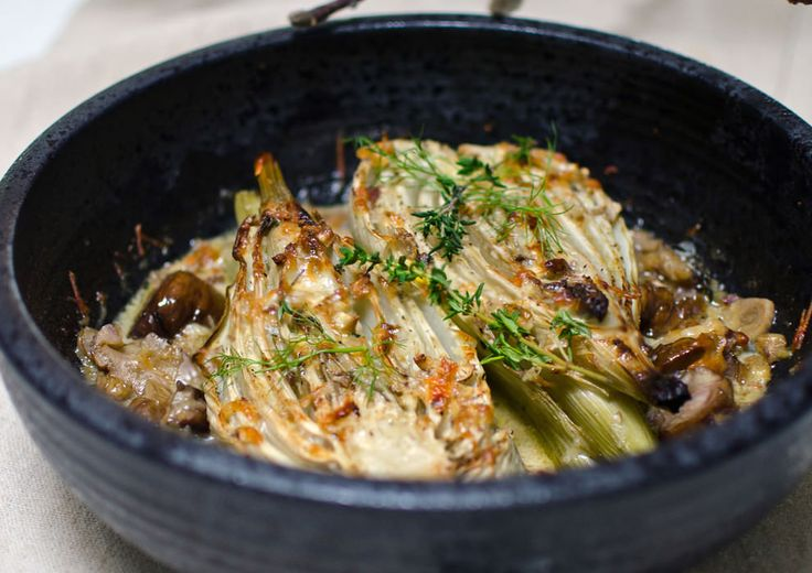 fennel gratin with chestnuts, thyme + parmesan