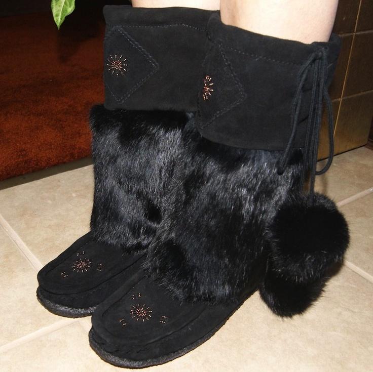 Women's Mid-Calf Suede Leather & Rabbit Fur Authentic India Mukluks - 8518-B