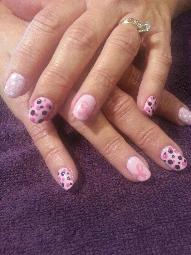 Breast Cancer Awareness Shellac nail art | Nail Art By Me! :-) | Pint