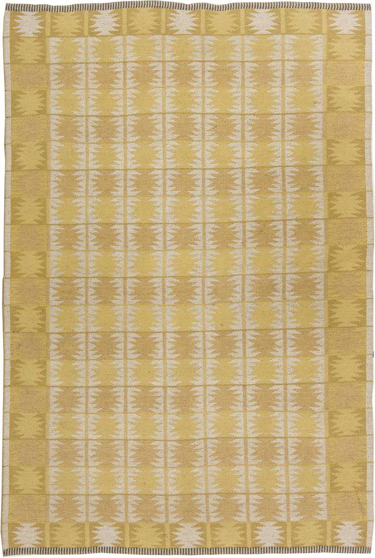 Vintage Rugs: Vintage Rug by Judith Johansson Swedish Flat weave for Scandinavian scandi interior decor, Scandinavian living room by Ingrid Dessau