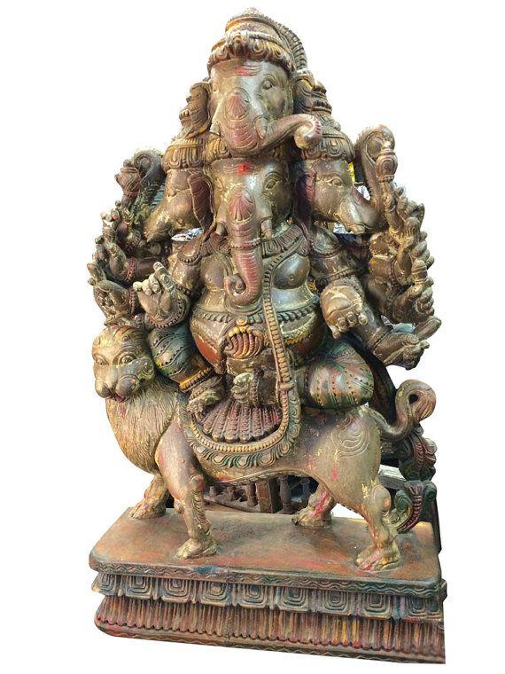 Hindu Ganesh Wooden Sculpture Panchmukha Face by MOGULGALLERY