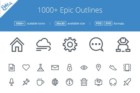 Check out 1000+(200 FREE) Epic Outline icons by EpicShop on Creative Market
