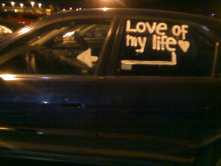 I saw this in the parking lot at college, a boyfriend had left a sweet surprise for his girlfriend on her car.