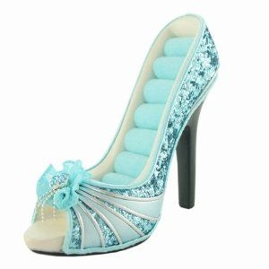 Tiffany Blue Peep Toe Shoe Ring Holder Sequined