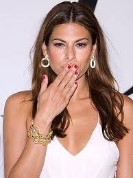 Eva Mendes in red nails. #celebstylewed #bridal #nuptials