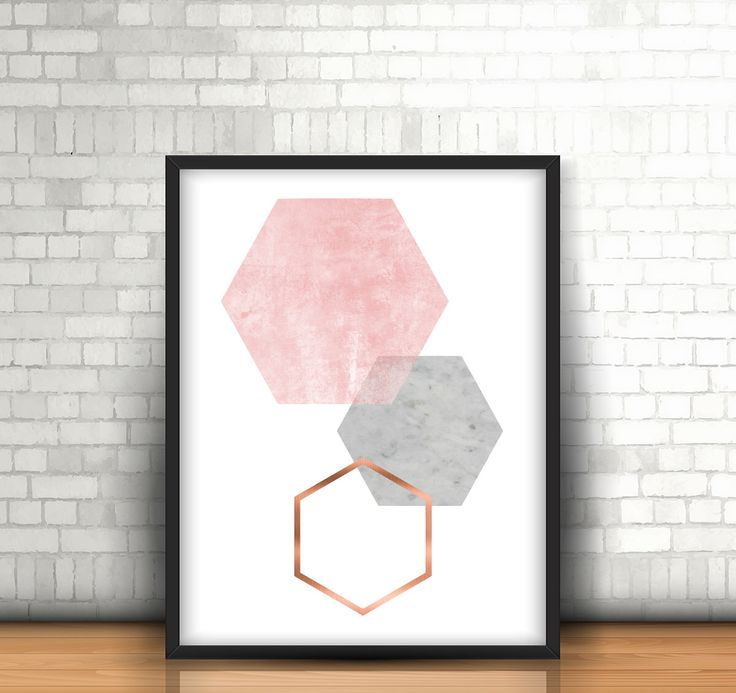 Grey and Rose Print Gray and Copper Wall Art Geometric Print Honeycomb Art Hexagon Poster Scandinavian Print Gray Copper Home Decor *193* by Artvintagedecor on Etsy https://www.etsy.com/listing/263368153/grey-and-rose-print-gray-and-copper-wall