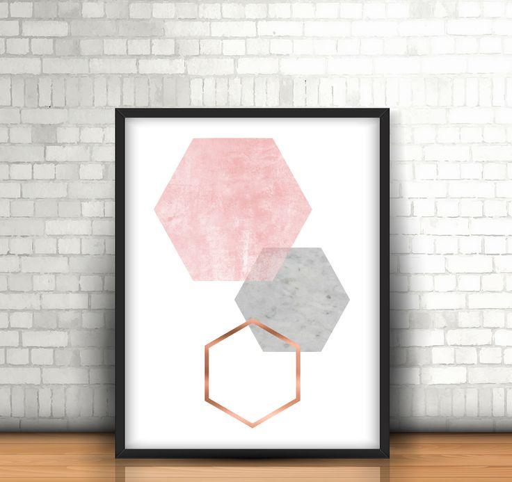 Grey and Rose Print Gray and Copper Wall Art Geometric Print Honeycomb Art Hexagon Poster Scandinavian Print Gray Copper Home Decor *193* by Artvintagedecor on Etsy https://www.etsy.com/listing/263368153/grey-and-rose-print-gray-and-copper-wall