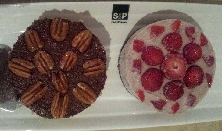 Healthy pecan Pie and strawberry shortcake deserts