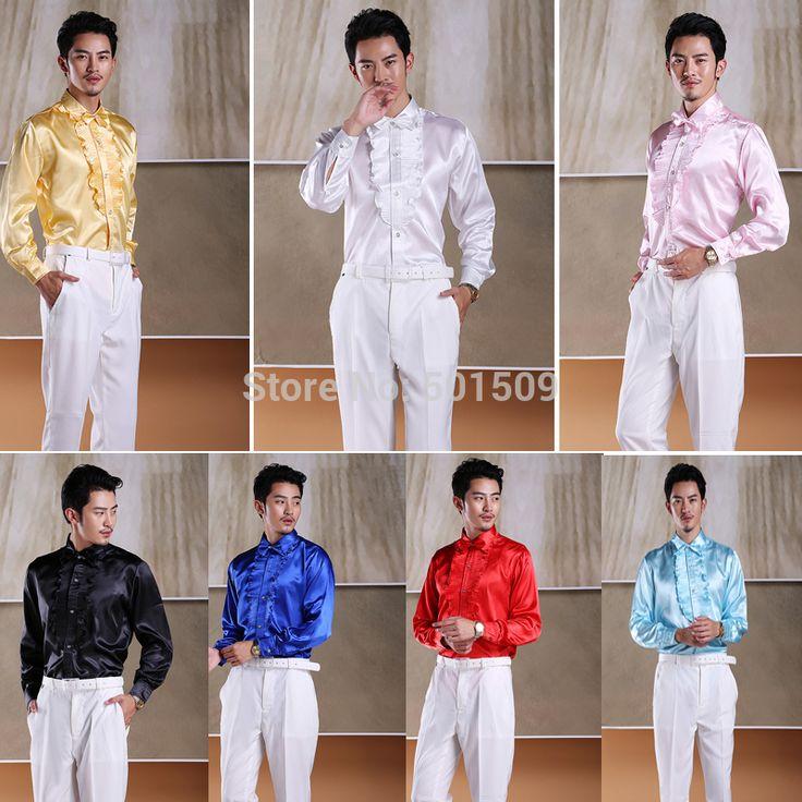 Белый / черный / красный / синий / с оборками смокинг рубашки ну вечеринку / свадьба рубашки