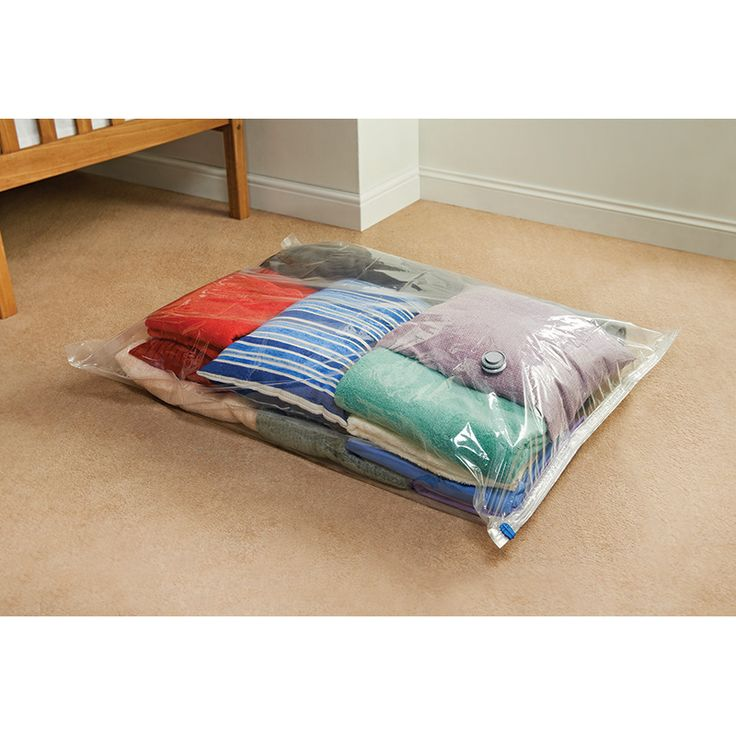 Vacuum Storage Bag. Ideal for packing your clothes away with minimum fuss, this vacuum packed storage bag is the perfect way to maximise storage space!