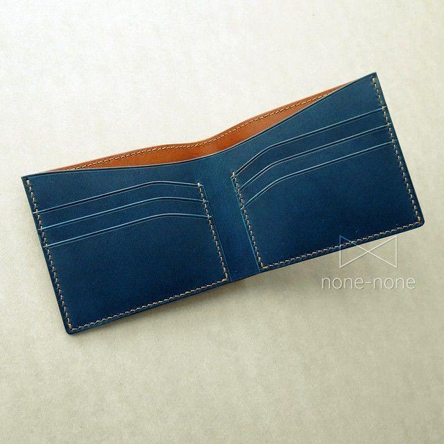Color matching short wallet (cognac & blue)