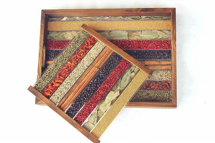 WOODEN TRAY AND TRIVET SET 120€ - Wooden #Tray and #Trivet Set decorated with Natural Spices. Wooden with synthetic resin base (which has the appearance of glass) compartmented to house the various decorative spices. - #OnSale on #Gifts by http://www.amazon.de/gp/aag/main?seller=A1QPL980FAHTMT