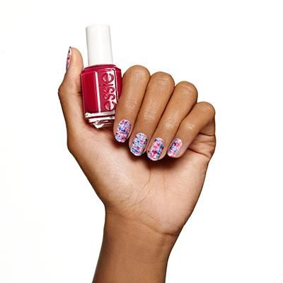 sketch+the+surface+by+essie - make+an+impression+with+this+abstract+nail+design,+featuring+berries+and+blues+on+white.