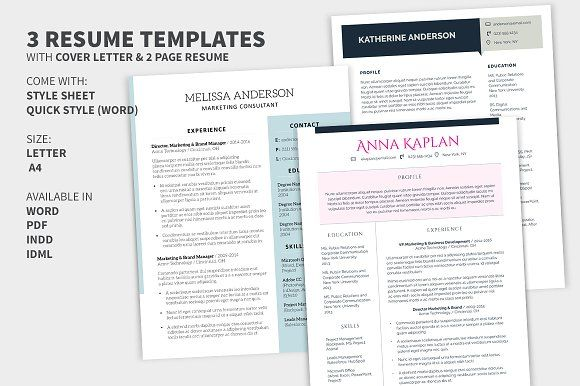 Bundle: Cover Letter & 2 Page Resume by KolabMedia on @creativemarket
