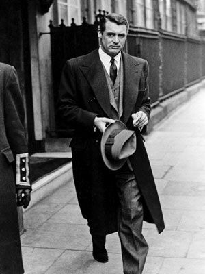 "When I hear the phrase ""Clothes make the man"", I believe this is what they were referring to. Nobody does a wool overcoat like Cary. Especially with those shoulders. Mmm, mmm!  However, one could also argue that this man wears ""nothing"" pretty well too..."