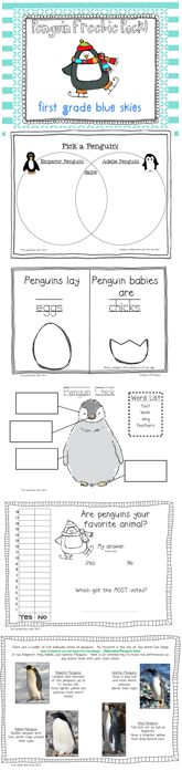 First Grade Blue Skies: Snowman Glyph and Penguin Freebies