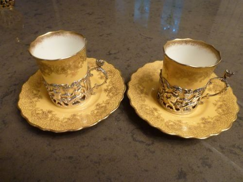 PAIR OF COFFEE CANS SILVER HOLDERS 1899 WILLIAM HUTTON