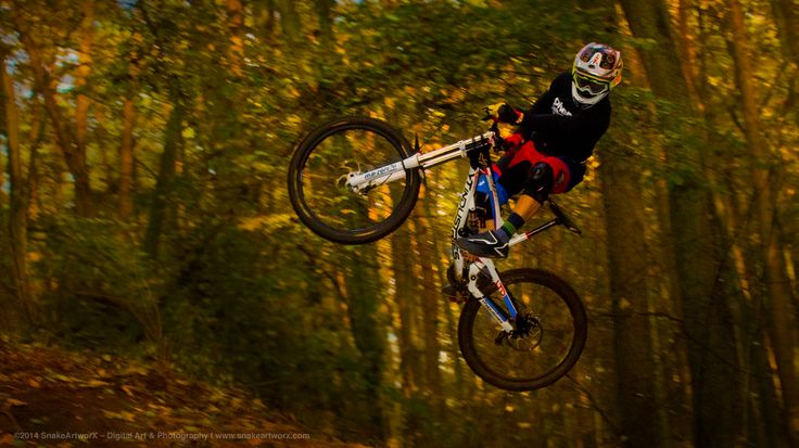 """Check the landing"" ©2014 SnakeArtworX - Digital Art & Photography  Canon EOS 1100D + Sigma 30mm F1.4 DC HSM A  #photography #sports #downhill #mtb #mountainbiking #forest #canon #sigma #ytindustries #marzocchi"