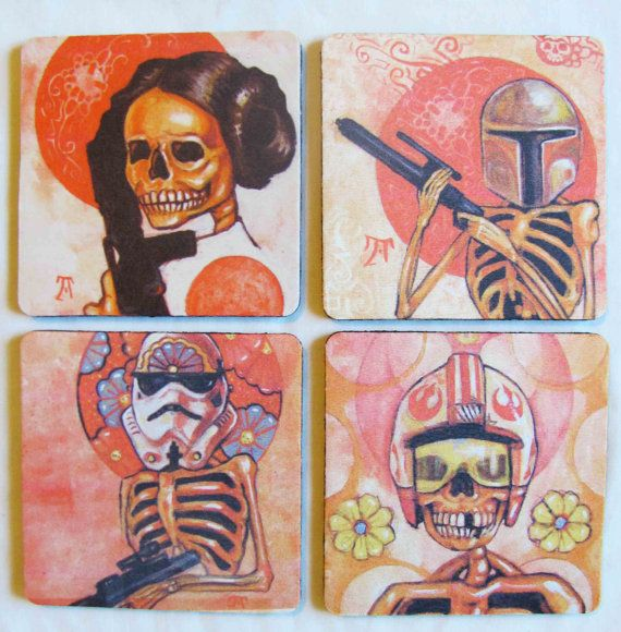 Star Wars Coaster Set - Day of the Dead style on Etsy, $16.25