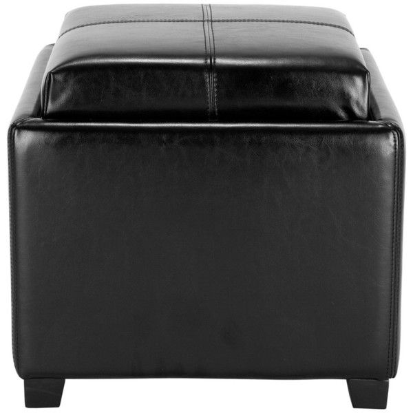 Leather Harrison Single Tray Ottoman ($150) ❤ liked on Polyvore featuring home, furniture, ottomans, nocolor, black footstool, storage ottoman, leather footstool, black leather footstool and black leather footrest