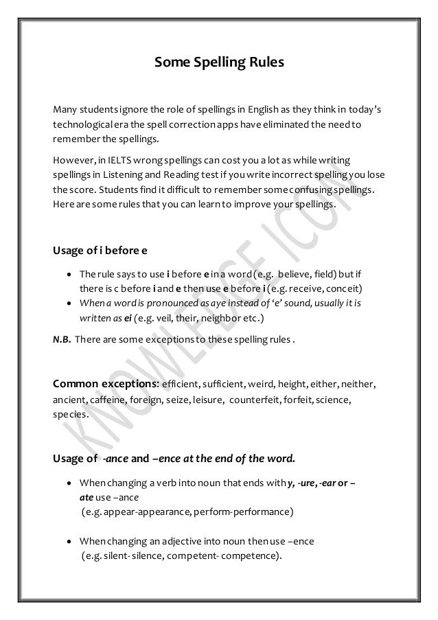Learn spelling rules for IELTS  Visit Knowledge Icon, a unit of
