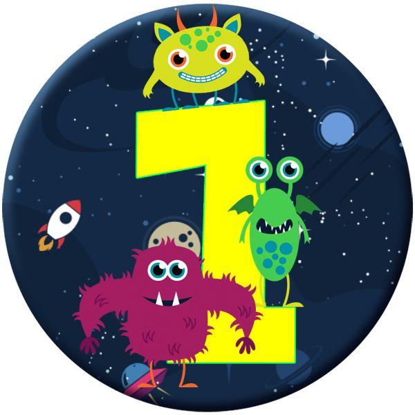 Monster 1 Age Birthday Badge for Kids #486
