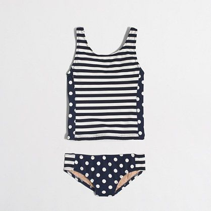 Factory girls' tankini set in stripes and dots