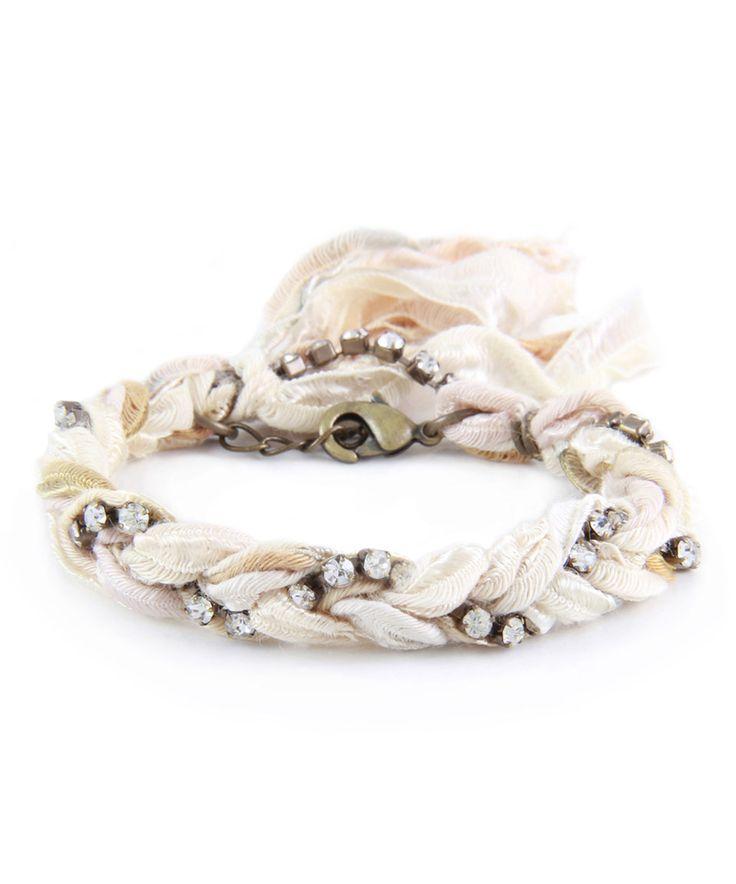 Another great find on #zulily! Crystal & Cream Braided Ribbon Bracelet by Ettika #zulilyfinds