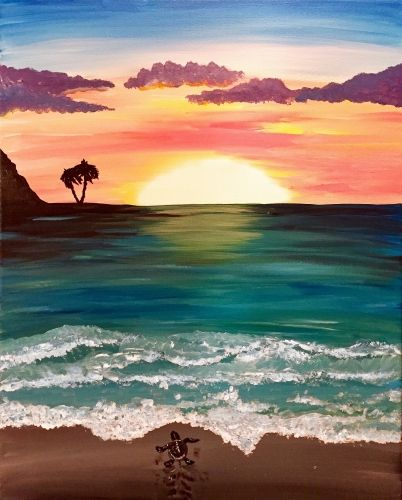 Sea Turtle Sunrise - Paint Nite Painting