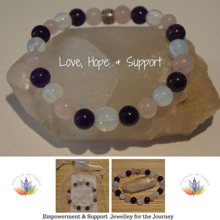 1 Fertility LOVE, HOPE & SUPPORT Amethyst/ Rose Quartz/Moonstone Bracelet This was made to help and support those going through IVF and other ART.  I am a Qualified & Registered Colour Therapist  I make: Empowerment and Support Jewellery #fertilityjewellery #ivf #pcos