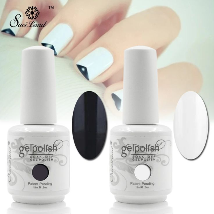 Saviland 2pcs 15ml French Manicure Black White Nails Gel Polish 2 Colors Black White UV/LED Soak Off French Sticker Kit