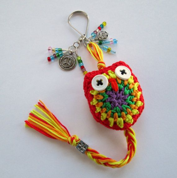 Crochet Owl Keychain in a Riot of Red & Orange by NirvanaDesigns, $20.00
