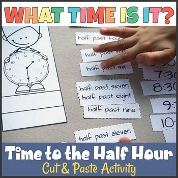 Telling Time to the Half Hour Cut and Paste Activity TpT Misc - time clock sheet template