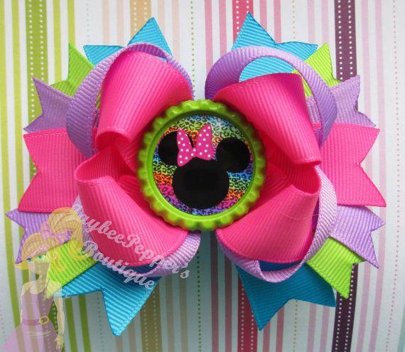 Minnie Mouse Hair bow Disney headband bottle cap clip over the top boutique girls cute fun fall vacation Halloween trip