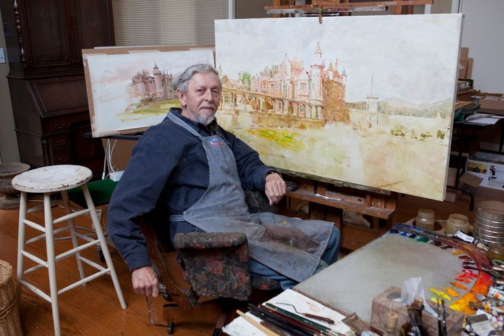 Richard Schmid in his studio. working from his plein air study.