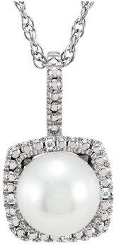 """Pompeii3 Sterling Silver 7mm Freshwater Cultured Pearl & .015 Ctw Diamond 18"""" Necklace."""