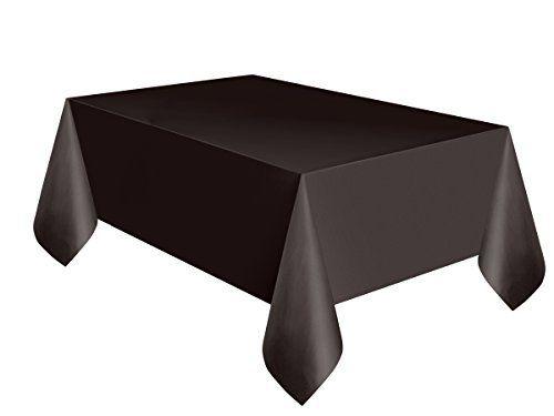 Este mantel de plástico negro mide 137 x 274 cm. El mantel es de plástico fino. Es ideal para decorar la mesa en las fiestas temáticas o en la fiesta de Halloween.Unique party branding