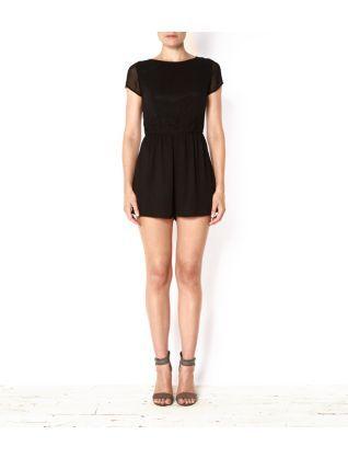 Black (Black) Black Crochet Waist Semi Sheer Sleeve Playsuit | 285894801 | New Look